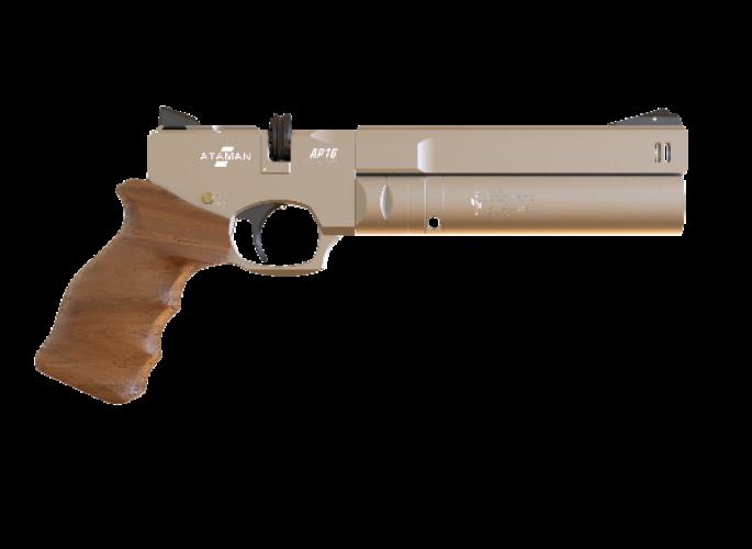 Пневматический пистолет Ataman АР16 Silver стандарт дерево 4,5 мм